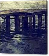 Old Wooden Pier With Stairs Into The Lake Canvas Print