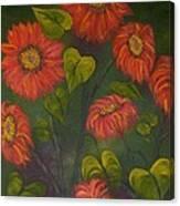 Orange Sunflowers Canvas Print