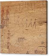 Pictograph Of Walking Figures Canvas Print