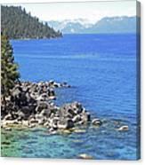 Pines Boulders And Crystal Waters Of Lake Tahoe Canvas Print