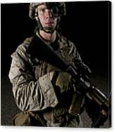 Portrait Of A U.s. Marine Wearing Night Canvas Print