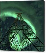 Powerlines And Aurora Borealis Canvas Print