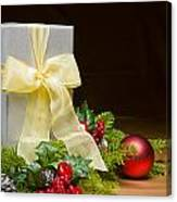 Present Decorated With Christmas Decoration Canvas Print