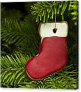 Present Sock Shape Short Bread Cookie In Christmas Tree Canvas Print