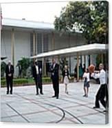 President Barack Obama Shoots Hoops Canvas Print