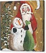 Primitive Santa And Snowman Crow Canvas Print
