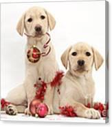 Puppies At Christmas Canvas Print