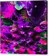 Purple Pink And Green Glass Flowers Canvas Print
