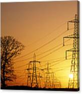 Pylons And Power Lines At Sunset Canvas Print