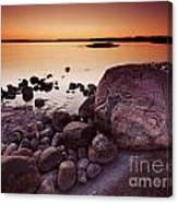 Rocky Shore At Twilight Canvas Print