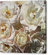 Romantic White Roses Canvas Print