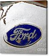 Rusted Antique Ford Car Brand Ornament Canvas Print