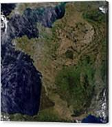 Satellite View Of France Canvas Print