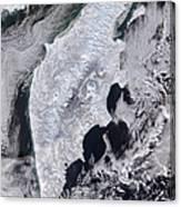 Satellite View Of Kamchatka Peninsula Canvas Print