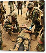 Seabees Conduct A Mass Casualty Drill Canvas Print