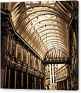 Sepia Toned Image Of Leadenhall Market London Canvas Print