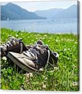 Shoes On The Green Grass Canvas Print