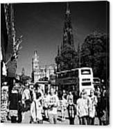 Shoppers And Tourists On Princes Street Edinburgh Scotland Uk United Kingdom Canvas Print