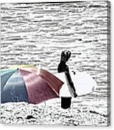 Surfer Umbrella Canvas Print