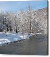 Snow At The Creek Canvas Print