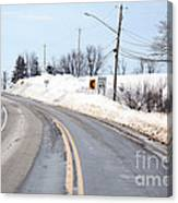 Snow By The Roadside Canvas Print