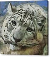 Snow Leopard Painterly Canvas Print