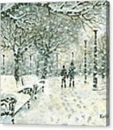 Snowing In The Park Canvas Print
