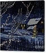 Snowy Winter Scene Of A Cabin In Distance  Canvas Print