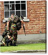 Soldiers Of The Belgian Army Helping Canvas Print