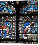 Stained Glass Window Of Notre Dame De Paris. France Canvas Print