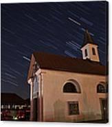 Star Trails Behind Vodice Chapel Canvas Print