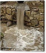 Storm Sewer Water Rushes Into A Stream Canvas Print