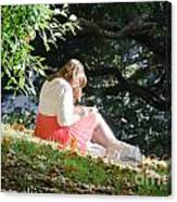 Student Girl In The Autumn Park Canvas Print