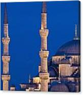 Sultanahmet Or Blue Mosque At Dusk Canvas Print