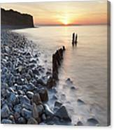 Sunset At The Remains Of Lilstock Pier Canvas Print