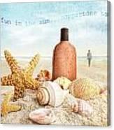 Suntan Lotion And Seashells On The Beach Canvas Print