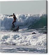 Surfers At Porthtowan Cornwall Canvas Print