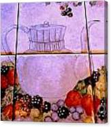 Teapot And Berries Canvas Print