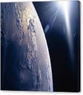 The Sun Shining On Planet Earth Canvas Print
