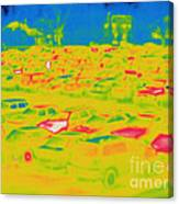 Thermogram Of Cars In A Parking Lot Canvas Print