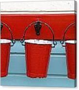 Three Red Buckets Canvas Print