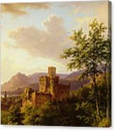Travellers On A Path In An Extensive Rhineland Landscape Canvas Print