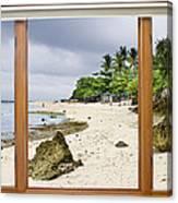Tropical White Sand Beach Paradise Window Scenic View Canvas Print