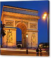 Twilight At Arc De Triomphe Canvas Print