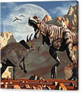 Tyrannosaurus Rex And Triceratops Meet Canvas Print