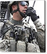 U.s. Army Soldier Communicates Canvas Print