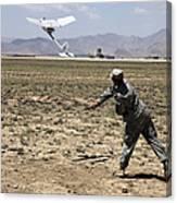 U.s. Army Soldier Launches An Rq-11 Canvas Print