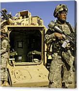 U.s. Army Soldiers Provide Security Canvas Print