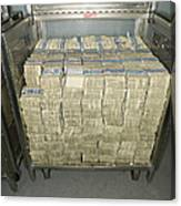 Us Dollar Bills In A Bank Cart Canvas Print