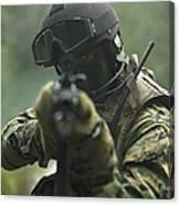 U.s. Marine During Combat Operations Canvas Print